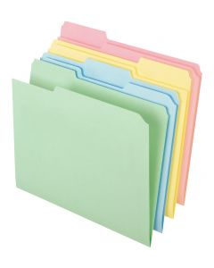File Folder - Color, 1/3 Tab, Asst-Pastels, Letter, 100/Bx