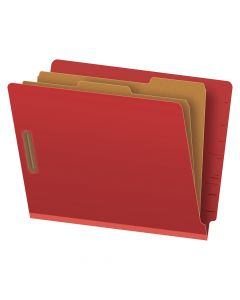 "Pendaflex® Pressboard End-Tab Classification Folders, Letter Size, 6 Section, 2.5"" Expansion, Red, Straight Cut, 10/BX"