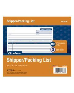 Shipper/Packing Slip Unit Set, 3-Part, Carbonless, 50/PK