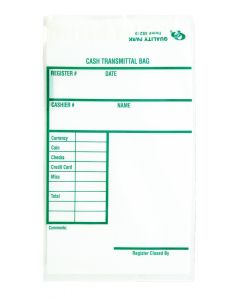 6 x 9 Poly Cash Transmittal Bags with Self Seal Closure for Protection Against Pilferage, Clear, 100 per Pack