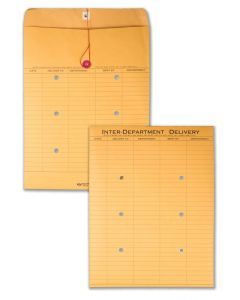 10 x 13 Inter-Departmental Envelopes with String & Button Closure for Interoffice Routing, 28 lb Brown Kraft, 100 per Carton
