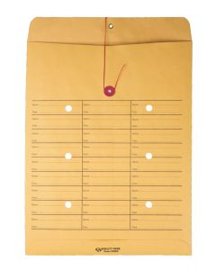 10 x 13 Inter-Departmental Envelopes with String & Button Closure for Interoffice Routing, 28 lb. Brown Kraft, 100 per Box