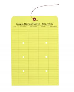 10 x 13 Inter-Departmental Envelopes with String & Button Closure for Interoffice Routing, 28 lb. Yellow, 100 per Carton