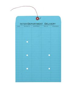 10 x 13 Inter-Departmental Envelopes with String & Button Closure for Interoffice Routing, 28 lb. Blue, 100 per Carton