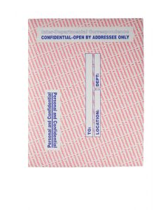 10 x 13 Personal and Confidential Inter-Departmental Envelopes with Gummed Flap for Sensitive Materials, 28 lb. Gray Kraft with Red and Blue Print, 100 per Box