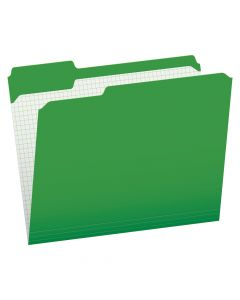 Pendaflex® Color File Folders with Interior Grid, Letter Size, Bright Green, 1/3 Cut, 100/BX