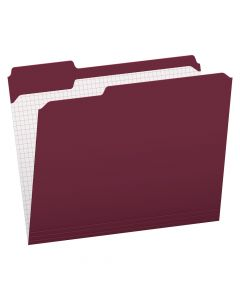 Pendaflex® Color File Folders with Interior Grid, Letter Size, Burgundy, 1/3 Cut, 100/BX
