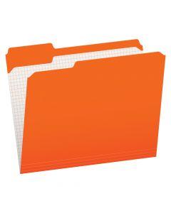 Pendaflex® Color File Folders with Interior Grid, Letter Size, Orange, 1/3 Cut, 100/BX