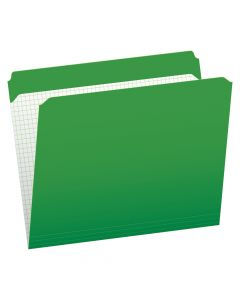 Pendaflex® Color File Folders with Interior Grid, Letter Size, Bright Green, Straight Cut, 100/BX