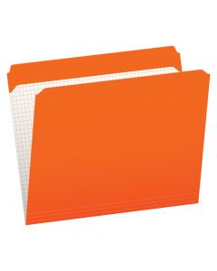 Pendaflex® Color File Folders with Interior Grid, Letter Size, Orange, Straight Cut, 100/BX