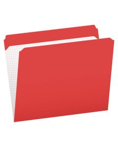 Pendaflex® Color File Folders with Interior Grid, Letter Size, Red, Straight Cut, 100/BX