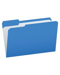 Pendaflex® Color File Folders with Interior Grid, Legal Size, Blue, 1/3 Cut, 100/BX