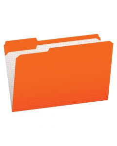 Pendaflex® Color File Folders with Interior Grid, Legal Size, Orange, 1/3 Cut, 100/BX