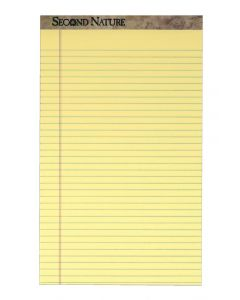 """TOPS™ Second Nature® Recycled Writing Pads, 8-1/2"""" x 14"""", Legal Rule, Canary Paper, 50 Sheets, 12 Pack"""