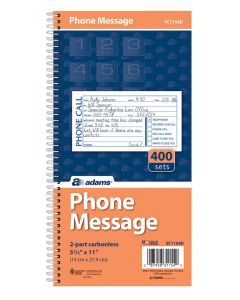 "Adams® Phone Message Book, 2-Part Carbonless, 5-1/2"" x 11"", 400 Sets per Book"