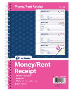 "Adams® Money and Rent Receipt Book, 2-Part Carbonless, 7-5/8"" x 11"", Spiral Bound, 200 Sets per Book, 4 Receipts per Page"