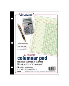 "Adams® Columnar Pad, 8 1/2"" x 11"", 100 Pages, 50 Sheets, 4 Columns, Green"