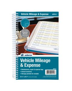 "Adams® Vehicle Mileage and Expense Journal, 5-1/4"" x 8-1/2"", Spiral Bound, 588 Mileage Entries, 6 Receipt Pockets"
