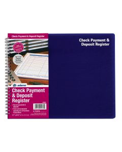 "Adams® Check Payment and Deposit Register, Spiral Bound, 8-1/2"" x 11"""