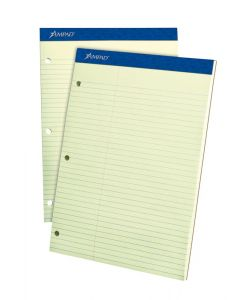 Ampad® Double Sheet Writing Pads, 8.5x11.75, Letter Size, Green tint, 3HP, Law Rule, 100 SH/PD