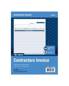 "Adams® Contractor's Invoice Sheets, 3-Part, Carbonless, 8-1/2"" x 11"", 100 Sets"