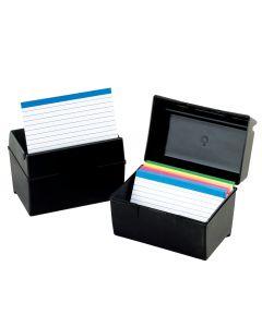 Oxford® Plastic Index Boxes, 5 x 8, 500 card capacity, Black