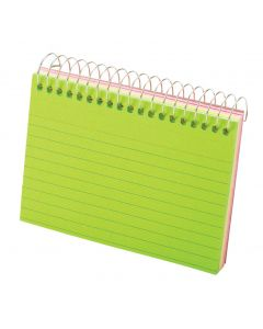 "Spiral Index Cards, 3"" x 5"", Assorted Neon"