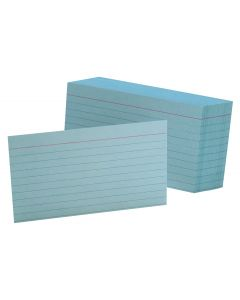 "Oxford® Ruled Color Index Cards, 3"" x 5"", Blue, 100 Per Pack"
