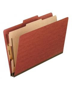 Pendaflex® Classification Folders, Moisture Resistant, 1 Divider, Bonded Fasteners, 2/5 Cut Tab, Red, Letter, 10/BX, 5 BX/CT