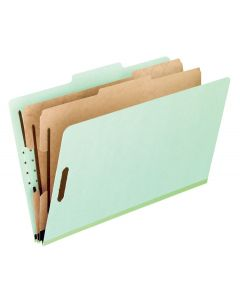 Pendaflex® Classification Folders – 2 Dividers, Light Green, Letter, 10/BX