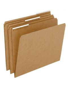 Kraft File Folders With Plastic Angled Tab, Letter size, Kraft