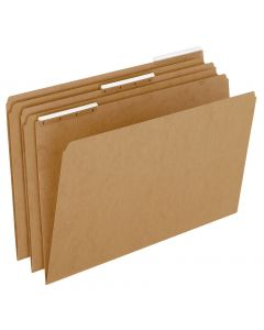 Kraft File Folders With Plastic Angled Tab, Legal size, Kraft