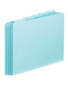 File Guides with Blank Tabs, Letter size, Blue Pressboard, 100/BX