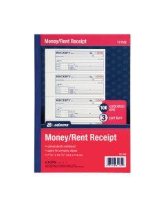 "Adams® Money/Rent Receipt Book, 3-Part, Carbonless, 7-5/8"" x 10-7/8"", 100 Sets per Book, 4 Receipts per Page"