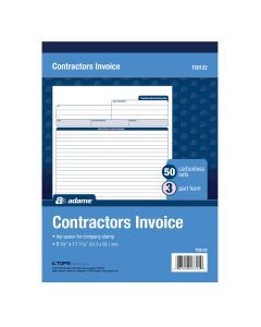 Adams® Contractor's Invoice Book, 3-Part, 50 Sets per Book, 50 Pages