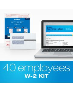 Adams® W2 Tax Forms Kit for 40 Employees with Tax Forms Helper® Online 2020