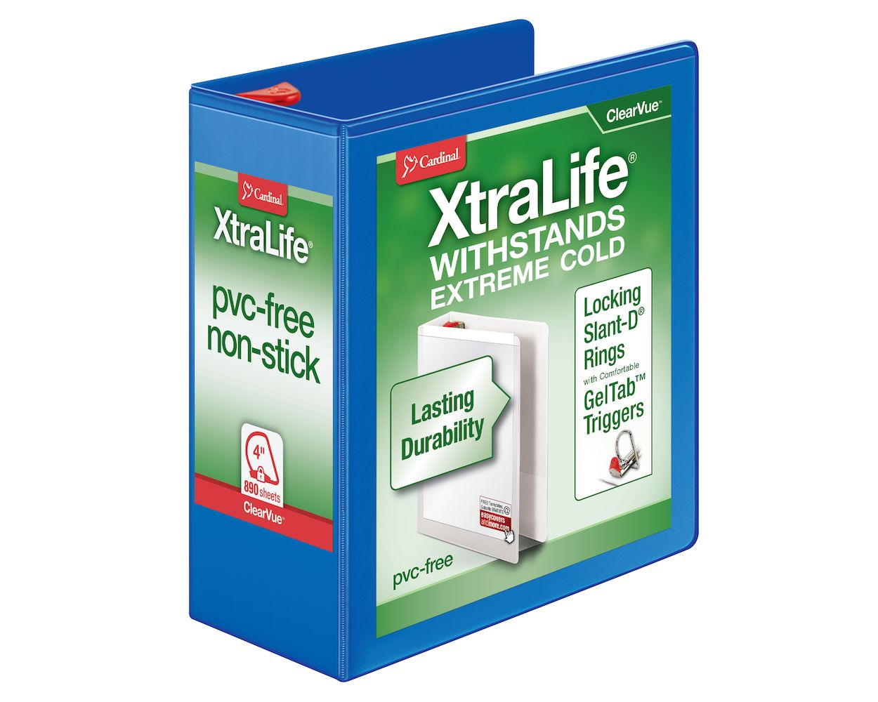 "Letter 3/"" Binder Capacity Cardinal Xtralife ClearVue Locking Slant-D Binders"