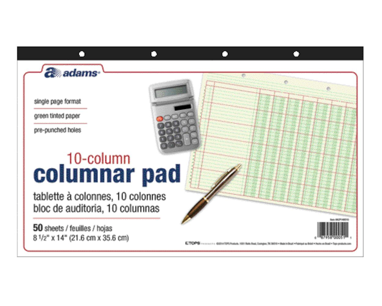 by JustWritin 76706 11 x 8.5 Inches 10-Pack Norcom Columnar Pad 6 Columns 50 Sheets Designed in The USA