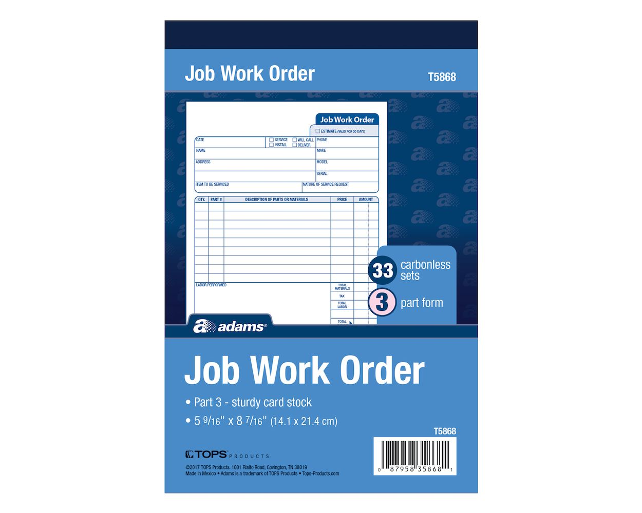 "Three-Part Carbonless TOPS 3868 Snap-Off Job Work Order Form 5 2//3/"" x 8 5//8/"""