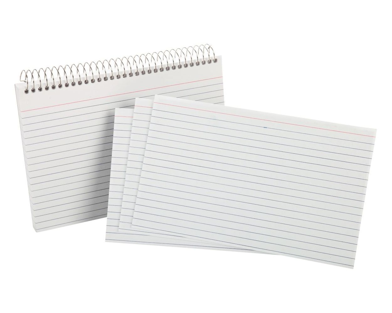 5 Pack of 50 Cards Oxford Spiral Index Cards 4 x 6 White